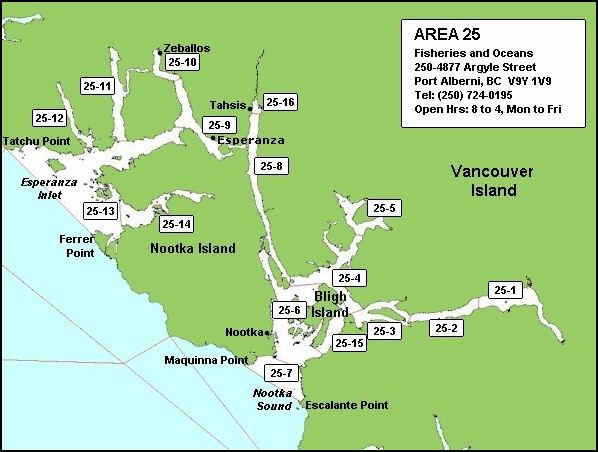 Map of Nootka Sound Fishing Mgmt Area 25